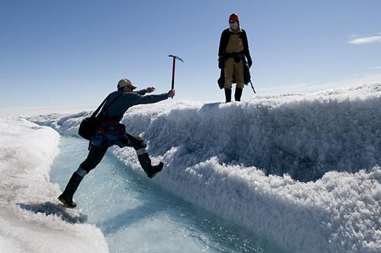 Mark Behn using an ice ax.