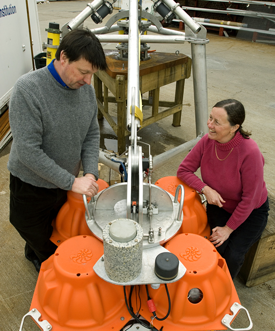 John Collins and Susan Humphris with the BB OBS instrument.