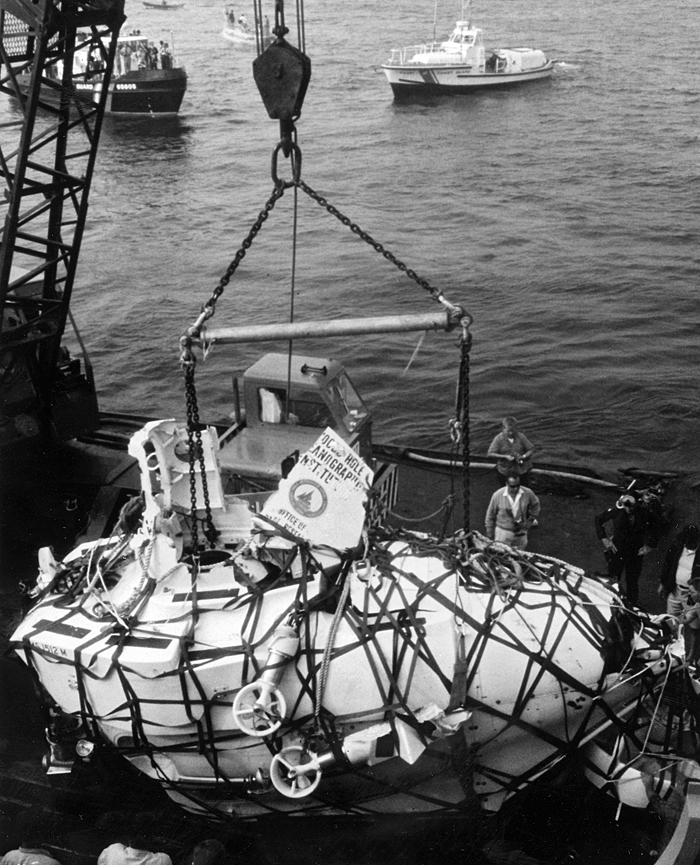 Alvin being recovered after being lost at sea.