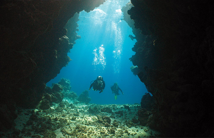 large underwater cavern on a Red Sea coral reef