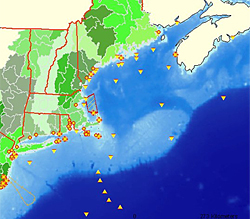 Interactive map of N.E. watersheds and ocean observing efforts