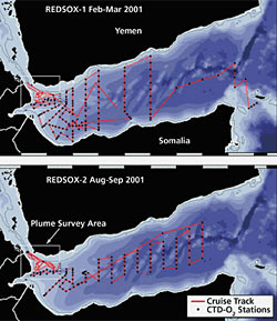 Maps of the REDSOX I and II cruises to the Red Sea