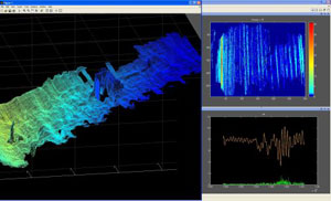 Delta-T Sonar Data: Data collected from our Hull & Harbor vehicle. Sonar imaging of 3D objects on the hull of a ship.