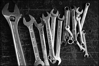 Wrenches on table