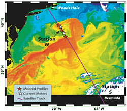 satellite image of sea surface temperatures off the U.S. East Coast
