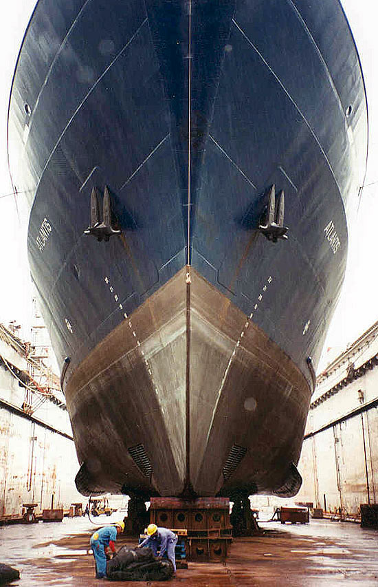 R/V <i>Atlantis</i> in dry dock.