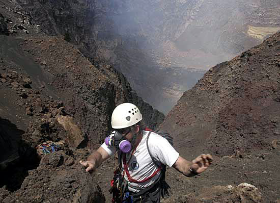 WHOI geochemist Ken Sims climbed into Masaya Volcano in Nicaragua to collect gas samples directly from  highly concentrated plumes in the caldera.