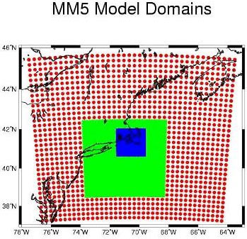 MM5 nested model domains