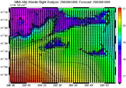 Map of the 3 km fine resolution grid showing 2-m air temperature and 10-m winds at the same time as Figures 4-5.