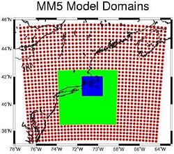 MM5 nested model domains