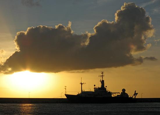 The R/V Knorr at dock in Bridgetown, Barbados.