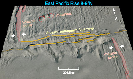 bathymetric map of the seafloor