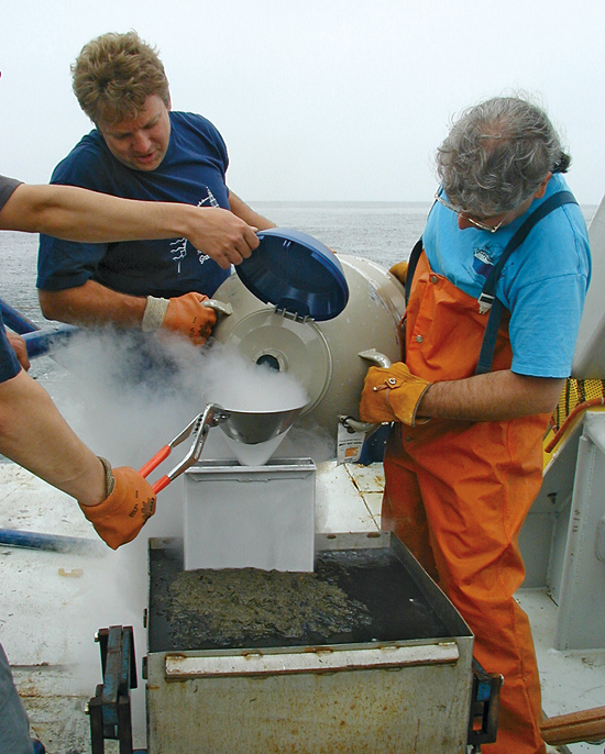 WHOI paleoceanographer Konrad Hughen (left) and WHOI Research Associate Daniel Montlucon.