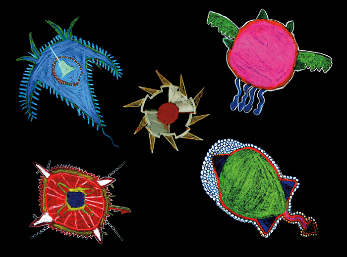 drawings of imaginary microbes by schoolkids