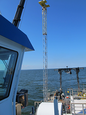 Turbulence tower deployed by Malcolm Scully during the fall of 2013 in Chesapeake Bay.