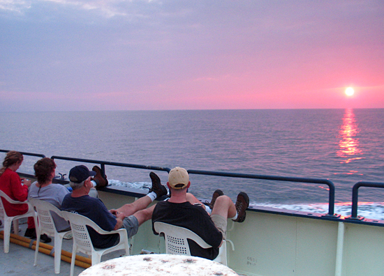 This is the first sunset of the R/V Knorr cruise on transit from Woods Hole towards the New Jersey continental shelf.
