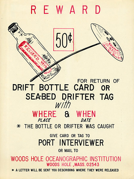 poster that encouraged return of drift bottles
