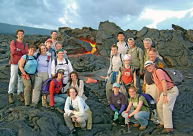 MIT/WHOI Joint Program students and staff hiked Mount Kilauea on the Big Island of Hawaii in June 2004 to study the island's origin and active volcanism. A lava tube, about eight miles from the eruption source, is visible at center.