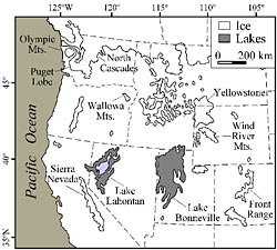 Reference map of the western United States during the last glacial maximum