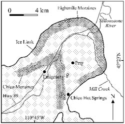 Sample sites on the Eightmile and Chico moraines