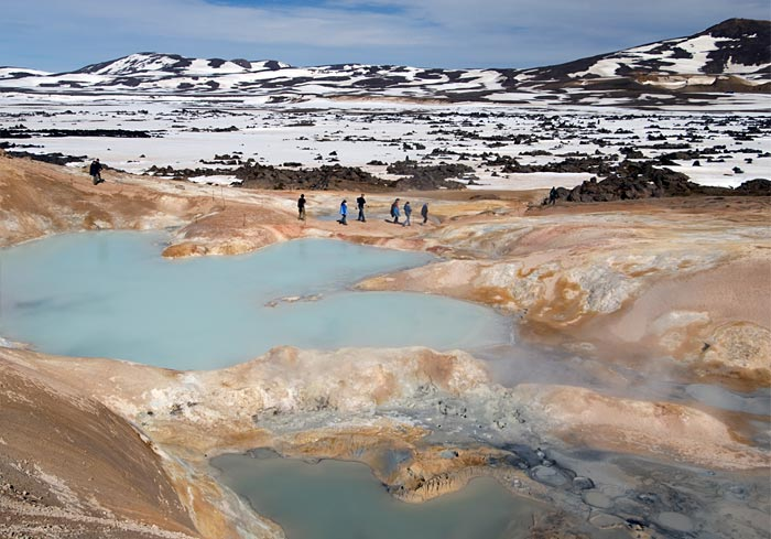 sulfur-encrusted hot spring