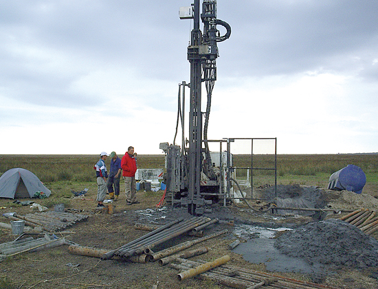 drilling into sediment