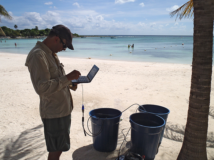 Matt Charette tracking groundwater flow in Mexico