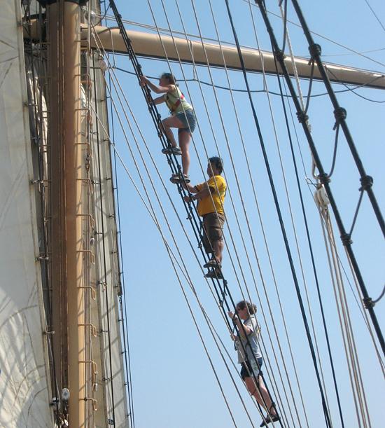 JP students climbing ships rigging.