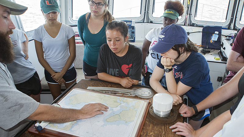 students learn navigation from Ian Hanley on Tioga
