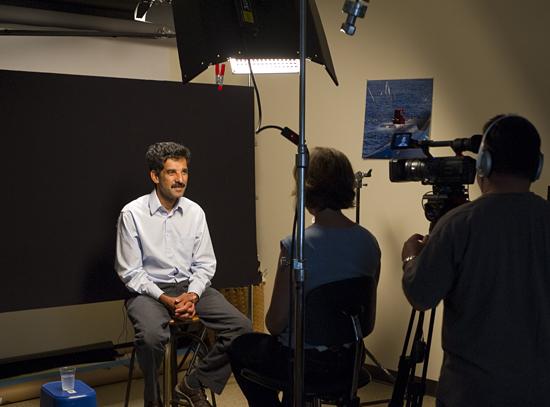 Hanu Singh being interviewed