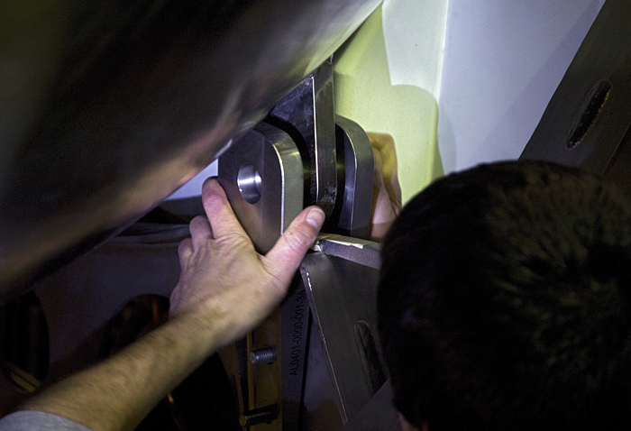 Brian Durante assembles clevis attachment on new Alvin frame
