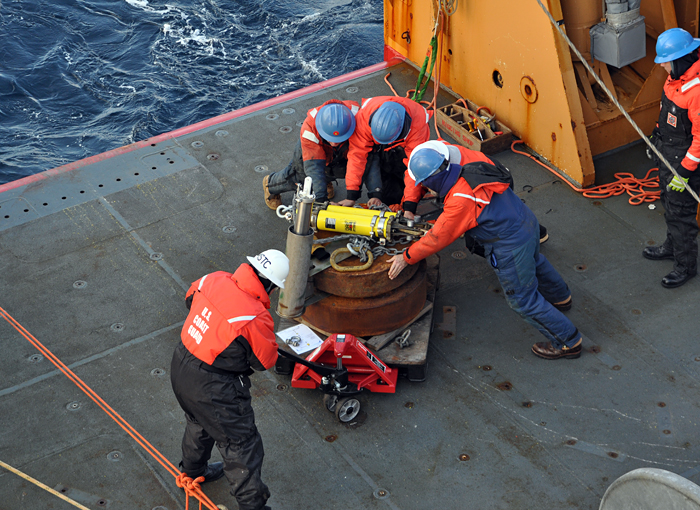 Healy recovers a mooring anchor