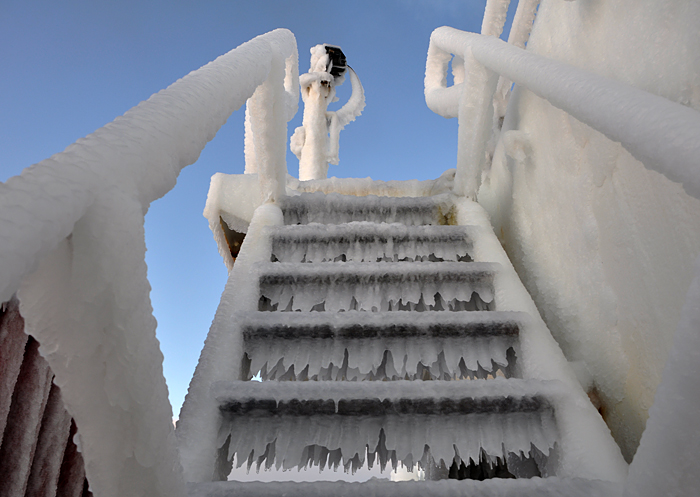 Icy stairs aboard USCGC Healy