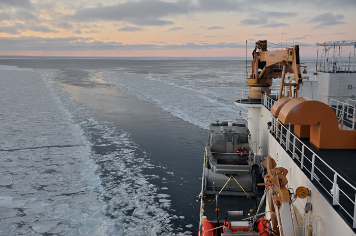 USCGC Healy Steams Through Pancake Ice