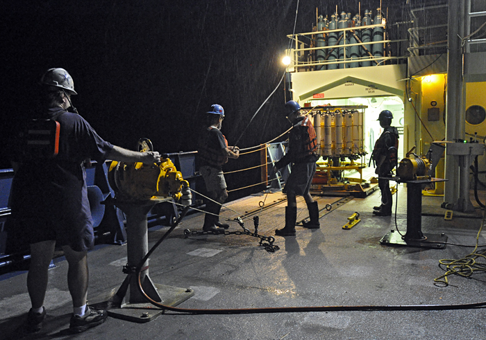 wrangling a CTD in rain at night