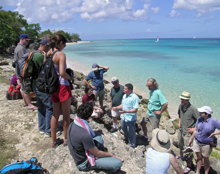 Bill Thompson in Barbados with Geodynamics Seminar students