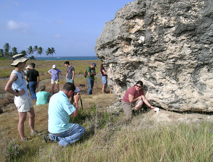Geodynamcs field trippers with huge chunk of fossil coral in Bahamas
