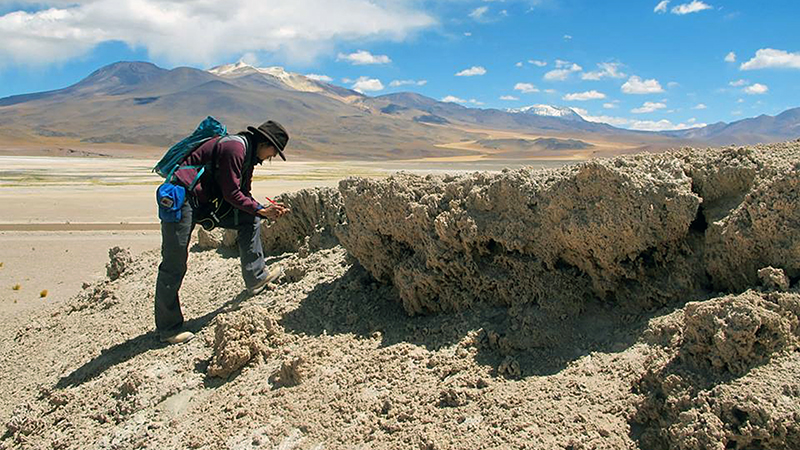 Christine Chen examines tufas in Chile