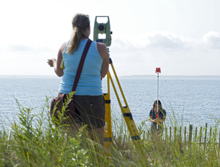 Surveying Falmouth beach