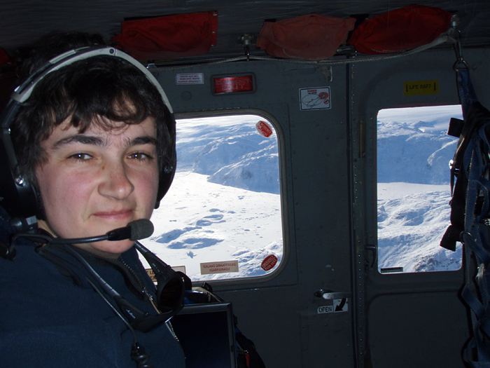 oceanographer Fiamma Straneo in a helicopter over Greenland