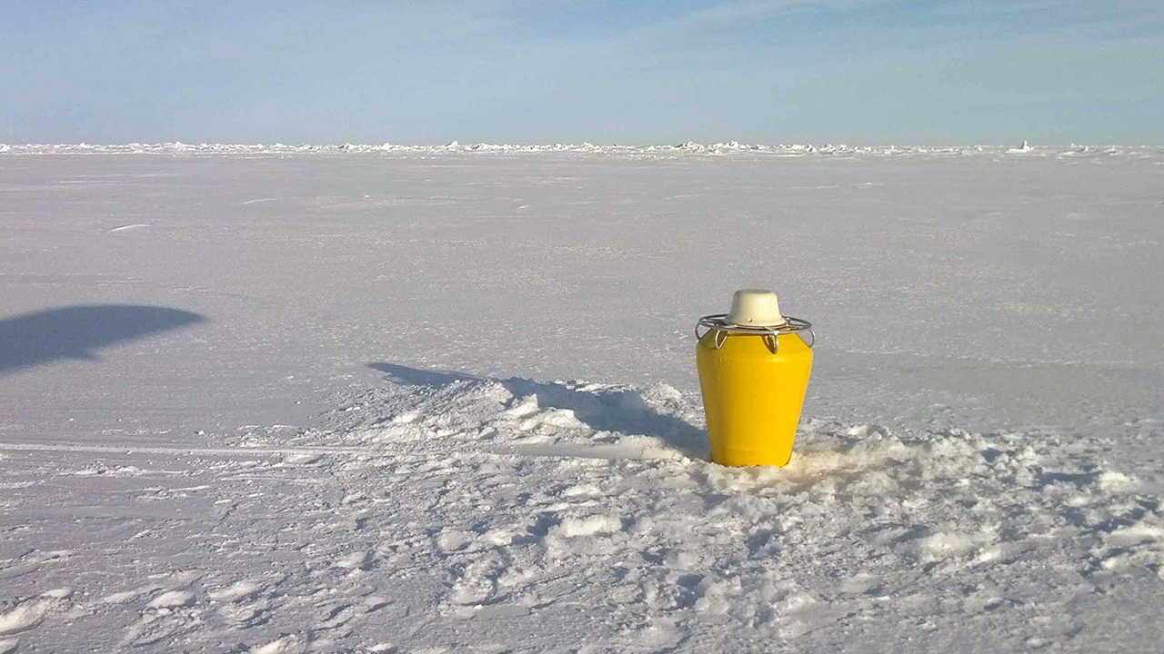 Buoy on Arctic sea ice.
