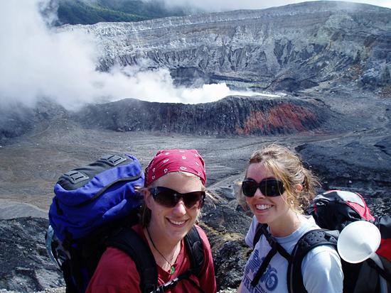 nicole keller and alison shaw at Poas volcano in Costa Rica