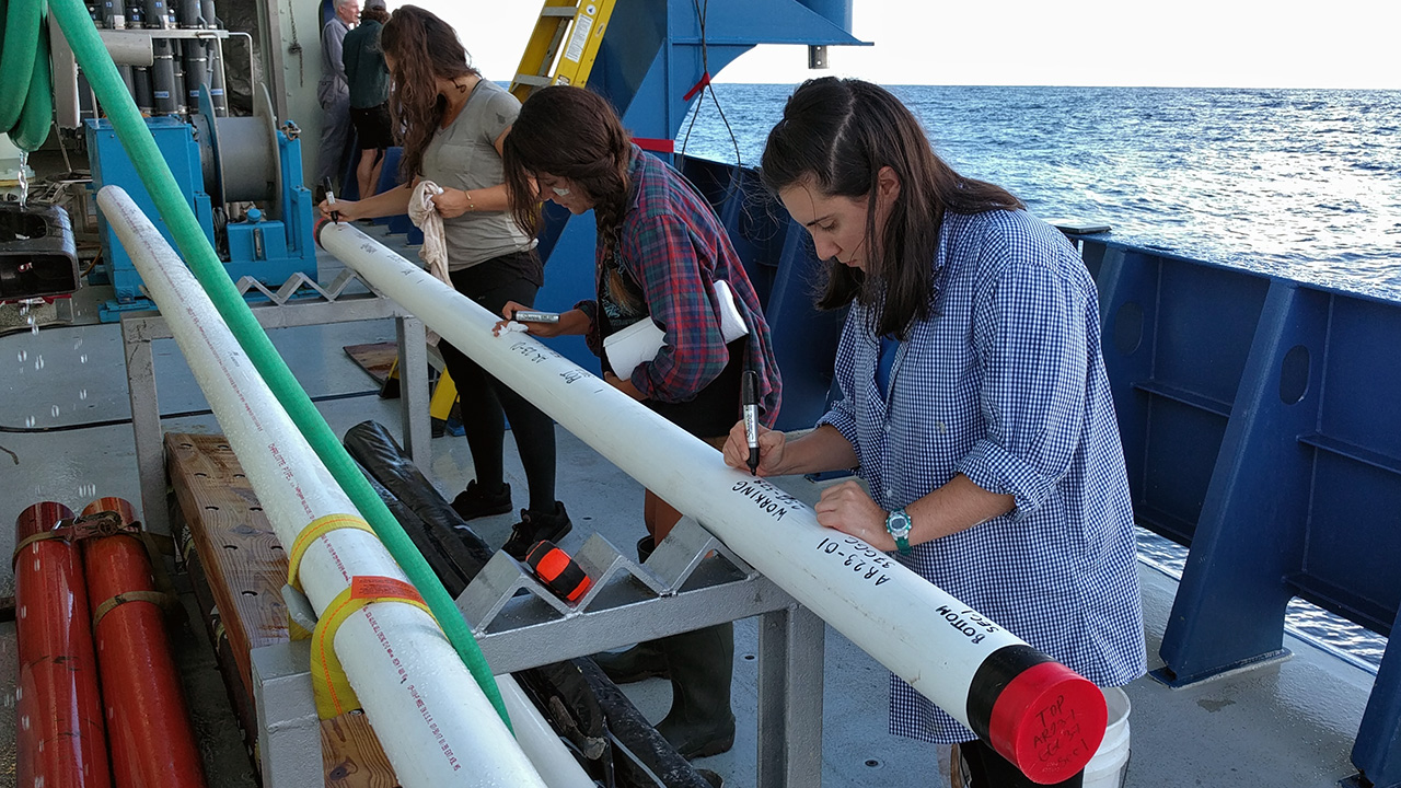 Processing a sediment core