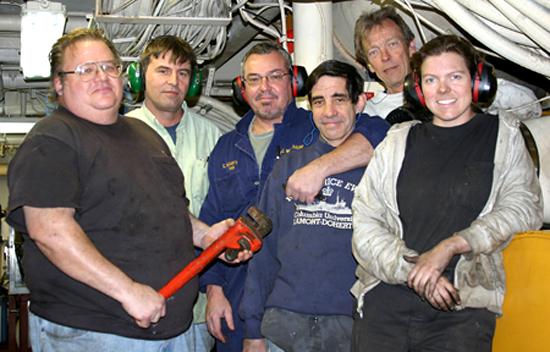 Engineers on research vessel Atlantis.