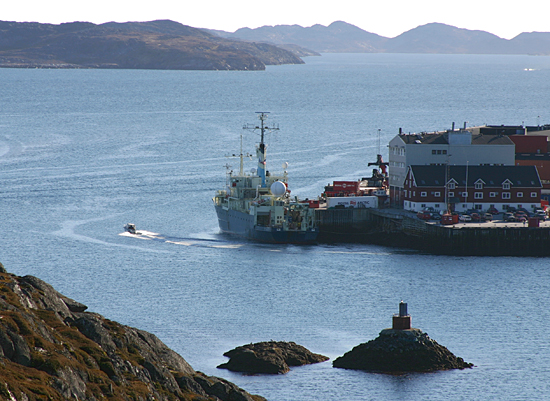 R/V Knorr at port in Nuuk, Greenland.