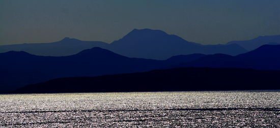 Baja peninsula silhouetted mountains.