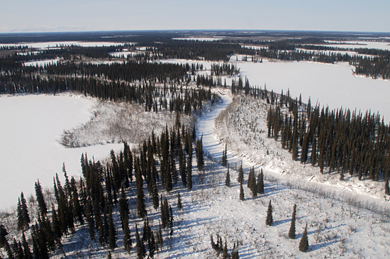 aerial of mackenzie river delta