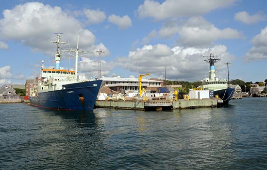 knorr and oceanus at dock