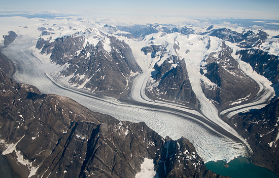 Flying over Greenland glaciers.