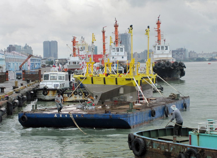 NOMAD buoys on a barge in the port city of Kaohsiung, Taiwan